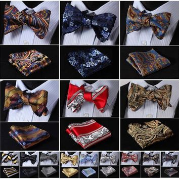 ONETOW Floral Paisley Striped Silk Jacquard Woven Men Butterfly Self Bow Tie BowTie Pocket Square Handkerchief Hanky Suit Set G6