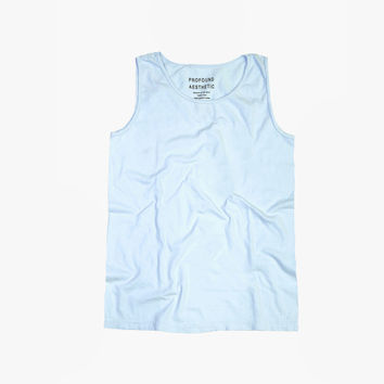 Pigment Dyed Basic Tank Top in Chambray