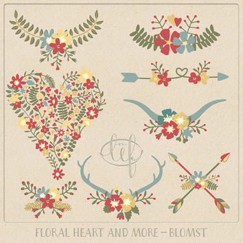 Vector Floral Clip Art Flower Heart, Antlers, Wreaths, Arrows and Laurels. Hand drawn set for cards invitations for weddings scrapbooking