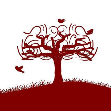 Birds in Whimsical Tree Decal