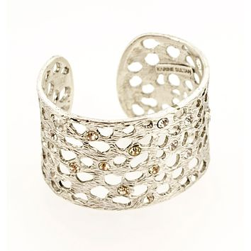 Intricate Cut-Out Cuff with Crystals - Silver