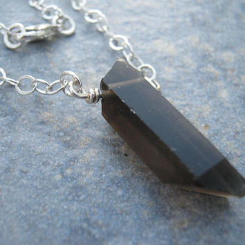 Smoky Quartz Crystal Necklace, Sterling Silver Raw Smokey Quartz Point Necklace, Minimalist Bar Necklace, Choose Length, READY To SHIP SQSS2
