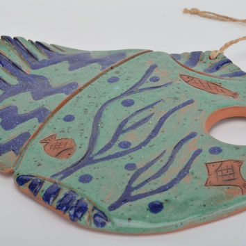 Beautiful blue handmade designer ceramic interior hanging Fish wall panel
