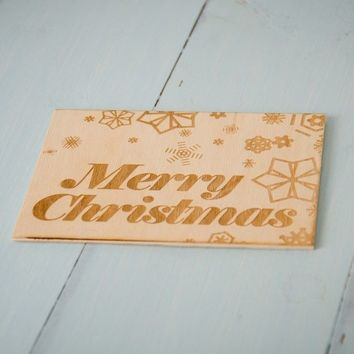 Laser Engraved Christmas Card - Merry Christmas