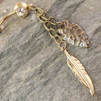Arrowhead and Feather and Chain Belly Button Ring Jewelry Brass Gold