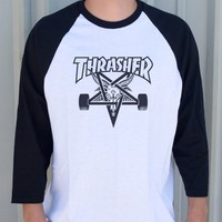 Thrasher Magazine Shop - Skategoat Raglan (White / Black)