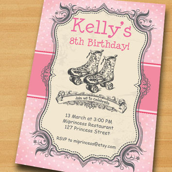 Roller skating Birthday Invitation for any age, kids girl 5th 6th 7th 8th 9th 10th birthday invitation Design - card 449