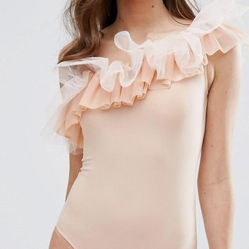 Miss Selfridge Mesh Frill One Shoulder Body at asos.com