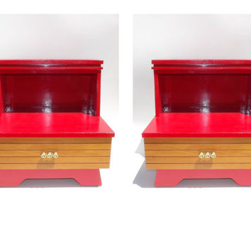 Mid Century End Table Pair Bedside Table Pair Bedroom Furniture Red Vintage Tables Nightstands Night Stand Living Room Bed Side Drawers Hot!