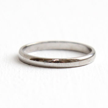 Vintage Mid-Century 14k White Gold Wedding Band - Size 4 3/4 Classic and Simple Women's Fine Jewelry, Hallmarked Tessler & Weiss