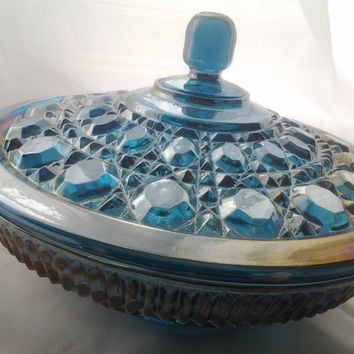 Vintage Carnival Glass Bowl with Lid Covered Bowl Vintage 1970s 70s Blue Carnival Glass Dish Indiana Glass Company Candy Bowl