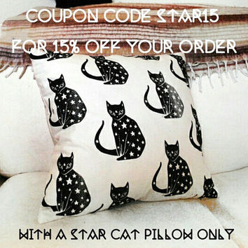 Starry Cat Throw Pillow / Cushion