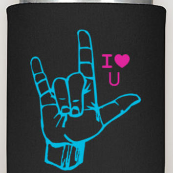 I Love You Can Coozie, sign language, i love you, asl, love you, love, signs, gifts, valentines gifts, custom order, can cozy, ourcornershop