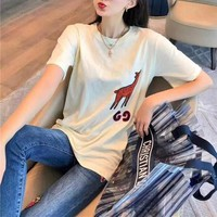 """""""Gucci"""" Unisex Casual Fashion Fawn Letter Embroidery Couple Short Sleeve T-shirt Top Tee"""