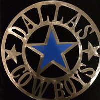 18 inch Dallas Cowboys NFL metal art, man cave hanging, accented with blue vinyl