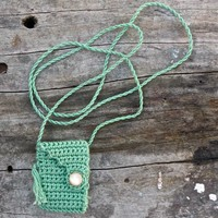 Seafoam is a one of a kind Spirit Pouch handmade with cotton floss