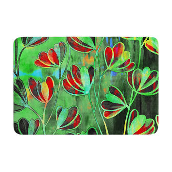 "Ebi Emporium ""Efflorescence - Red Green"" Lime Crimson Memory Foam Bath Mat"