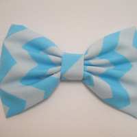 Light Blue Chevron Hair Bow, Girls Hairbow, Fabric Hair Bow, Retro Hair Bow