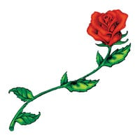 Tattoo Sales: Medium Red Rose With Stem Temporary Tattoo: Buy Flower Temporary Tattoos - Buy Direct From The Source