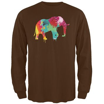 Splatter Elephant Brown Adult Long Sleeve T-Shirt