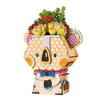 Robotime DIY Cartoon Koala Flower Pot for Succulent Plants Wooden Flowerpot Small Mini Home/Office/Garden Supplie Decor FT732
