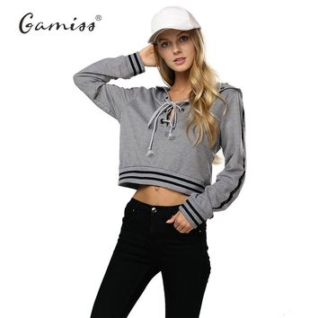 Gamiss Winter Spring Women Hoodies Casual Loose Full Pullovers Belt Ribbed Top Bandage Hoodies Sexy Pullover Warm Sweatshirt