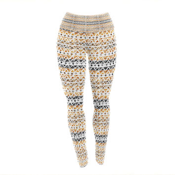 "Li Zamperini ""Africa"" Brown Tribal Yoga Leggings"