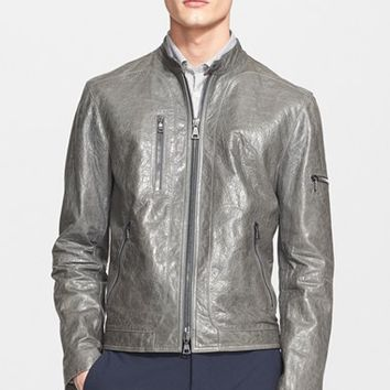Men's John Varvatos Collection Pebbled Leather Moto Jacket,