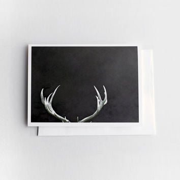 Antler card for men, dark brown and white 5x7 card stock, quirky fun for everyone