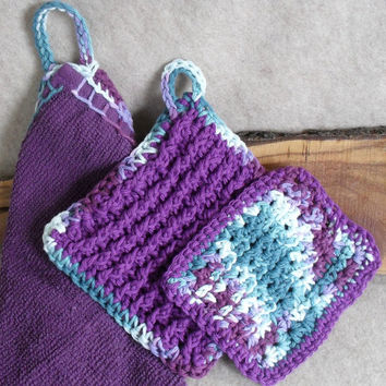 Purple Kitchenette Set: hand towel, crochet dish cloth & pot holder (set of 3)