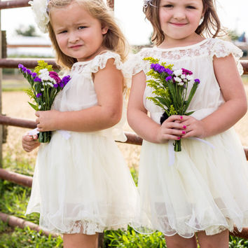 The Charlotte - Vintage Beige, Lace, Chiffon Flower Girl Dress, made for girls, toddlers, ages 1T, 2T,3T,4T, 5T, 6, 7, 8, 9/10