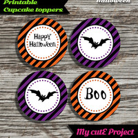 "Happy Halloween - Cupcake toppers - Instant Download - Party printable - Party favor - Candy Bar - 5 cm / 2"" - Bat"