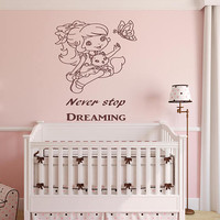 Nursery Room Decor, Kids Room Wall Stickers, Never Stop Dreaming, Inspirational Quotes, Girls Room Decoration, Store Advertisement,  nm011