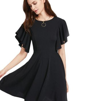 Princess Seam Party Dress Black Flutter Sleeve Slim Mini Summer Dresses Women Elegant Zip Up Elegant Ruffle Dress
