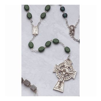 Celtic Crucifix Glass Shamrock Bead Rosary - Perfect Religious Gift