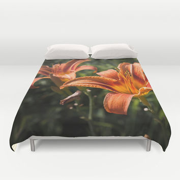 Fire lily Duvet Cover by PLdesign
