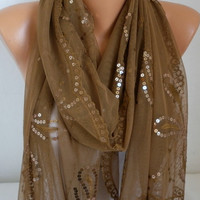 ON SALE - Khaki Sequin Tulle Scarf - Shawl - Cowl Scarf - Bridesmaid Gift - fatwoman