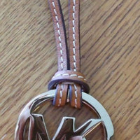 MK Michael Kors Purse Charm Gold Tone On Brown Leather