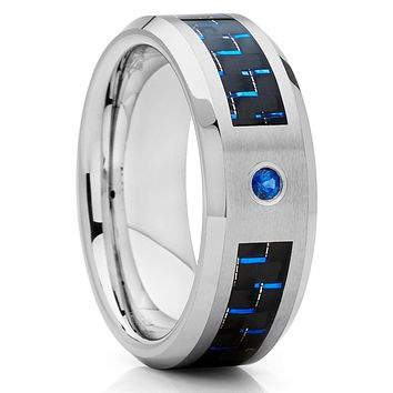 Blue Sapphire Ring - Tungsten Wedding Band - Carbon Fiber Ring - 8mm - Men's