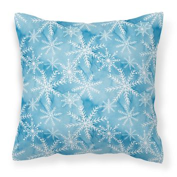 Watercolor Snowflake on Blue Fabric Decorative Pillow BB7553PW1818