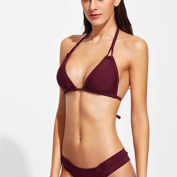 Burgundy Braided Halter Sexy Bikini Set