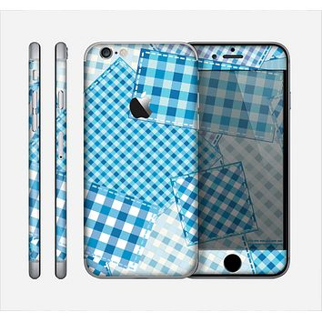 The Blue Plaid Patches Skin for the Apple iPhone 6