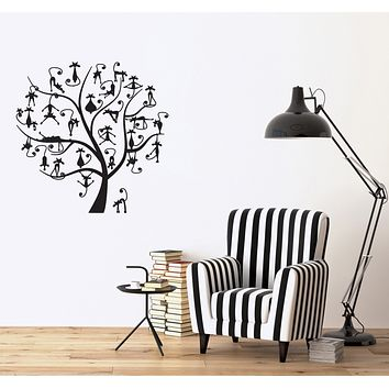 Wall Vinyl Decal Funny Family Black Cats on Tree Kids Room Decor Sticker  Unique Gift (n1170)