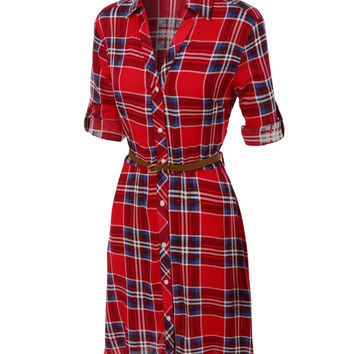 LE3NO Womens Flowy Button Down Plaid Shirt Dress with Faux Leather Belt (CLEARANCE)
