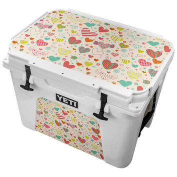 Worn Seamless Hearts Skin for the Yeti Tundra Cooler