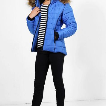 Girls Fully Padded Faux Fur Hooded Coat | Boohoo