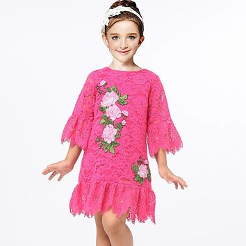 Girls Princess Dress Lace Costumes for Kids Clothes Brand Toddler Girl Dresses with Flower Embroidery Robe Fille Children Dress