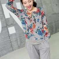 Clearance : floral print casual set hooded top pants clearance ghl0044