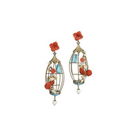 Of Rare Origin Aviary Coral & Turquoise Birdcage Earrings