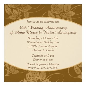 Autumn Rose Border Golden Wedding Anniversary 5.25x5.25 Square Paper Invitation Card
